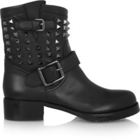 Valentino - Studded leather biker boots