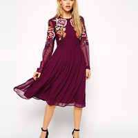 ASOS | ASOS Premium Skater Dress with Large Bright Floral Embroidery at ASOS
