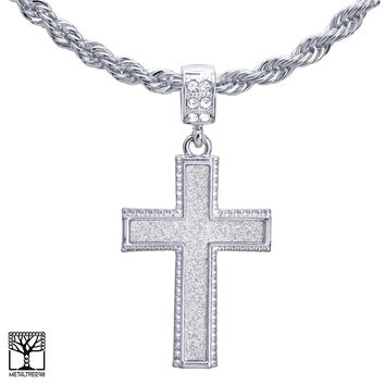 "Jewelry Kay style Men's 24"" Chain Fashion Silver Plated Cross Pendant Necklace HC 2044 S"