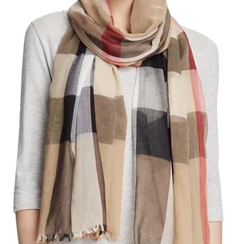 Burberry Genuine Giant House Check Print Scarf Wool & Silk 200X90cm
