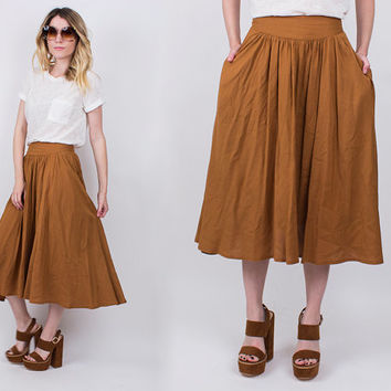 vintage 70s brown camel high waist midi skirt pleated full a line tan boho hippie bohemian preppy secretary