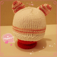 Kawaii Kitty Baby Hat- Newborn Hat- Baby Shower Gift, Photo Prop, Coming Home Photo