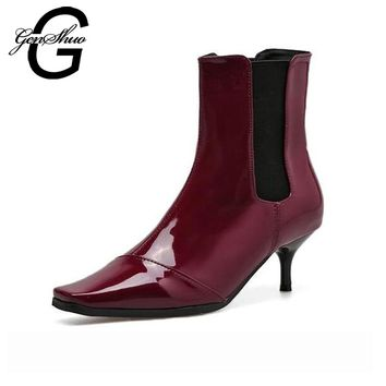 GENSHUO Women Kitten Heels Ankle Boots 2017 New Winter Patent Leather Fashion Low Heels 6CM Square Toe Boots Women Booties