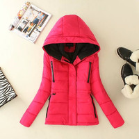 Hoodie Zippered Pocket Winter Jacket
