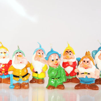 Seven dwarfs miniature candles, Snow White seven dwarfs figurines, vintage Disney figurines, fairy tale decoration, Disney collectibles