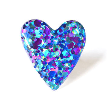 Holiday Blurple Limited Edition Glitter Ring Jewelry // Purple, Blue, Turquoise, Heart, Hologram, Mermaid, Indie, Kawaii, Large, Gift, Ring