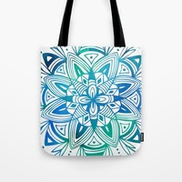 Mandala - Blue Green Watercolor Tote Bag by Heather Dutton