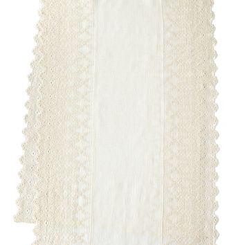 "Annabelle Lace-Edged Bed Scarf, 30"" x 90"" - Pom Pom at Home"