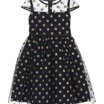 Sweet Kids Girls' Glitter Polka Dot Mesh Dress - Black, SK650