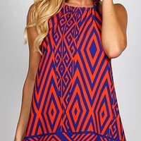 Geometric Print Dress - Navy and Orange