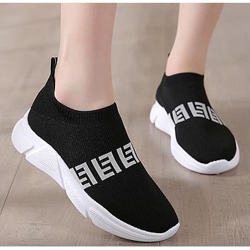 FENDI Hot Sale Women Casual Breathable Knit Running Sport Shoes Sneakers Black(White Sole)