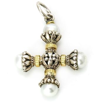 Konstantino Pearl Maltese Cross Pendant in Sterling Silver with Gold