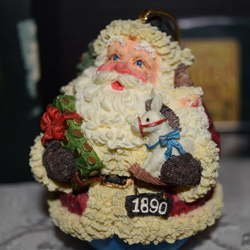 Roman American Santas Through The Decades 1890 Roly Poly Box Papers Vintage 1993 Santa Ornament Roly Poly Christmas Tree Decor Collectible