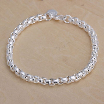Women Fashion 925 Sterling Silver Plated Cuff Charm Chain Bracelet Jewelry