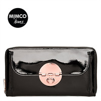 CLASSIC MIMCO ROSE GOLD turn lock travel wallet black petent leather travel wallet