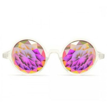 GloFX * Clear Kaleidoscope Glasses – Rainbow Fractal – Flat Back