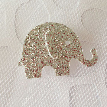 25 Silver Glitter Baby Elephant Die Cuts Punches Cardstock 1 Inch - Weddings Parties Confetti Decor