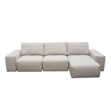 Jazz Modular 3-Seater Chaise Sectional with Adjustable Backrests in Light Brown Fabric