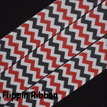 Red and Black Chevron Ribbon, 4 Yards, 7/8 inch Grosgrain
