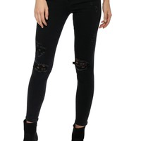 Vervet High Rise Button Up Lace Patch Skinny