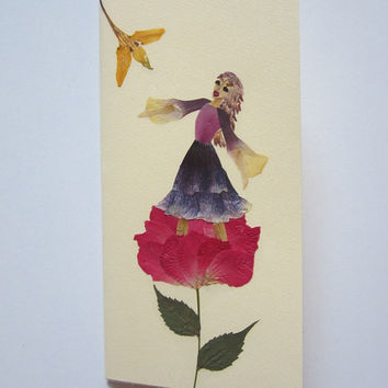 "Handmade unique greeting card "" Concert in nature"" - Decorated with dried pressed flowers and herbs - Original art collage."
