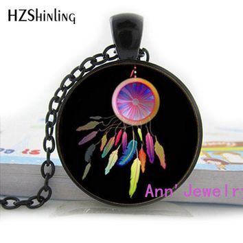 HZ1-093 Glass Dome cabochon lovely native American dreamcatcher necklace good dreams protection tribal pendant handmade jewelry