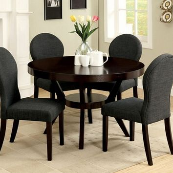 Furniture of america CM3423T-3425 5 pc. dixon contemporary style espresso wood finish round dining table set