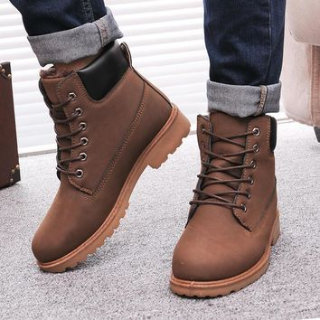 Men Winter Boots 2016 new PU Leather men boots Hot Sell Plus cotton snow boots Warm Wi