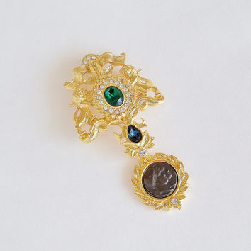 NOLAN MILLER Royal Crest and Cameo Brooch Pin