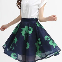 2Pcs Printed Buttoned Top Pleated Mini Skirt Sets