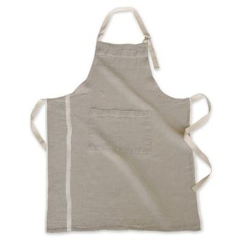 Couleur Nature Laundered Linen Apron in Natural/White