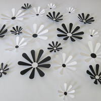 "Black and White Daisies Set, 21 big 3D wall decals, 2-4"" paper flowers, classic Wedding decorations, bridal shower decor, baby nursery art"