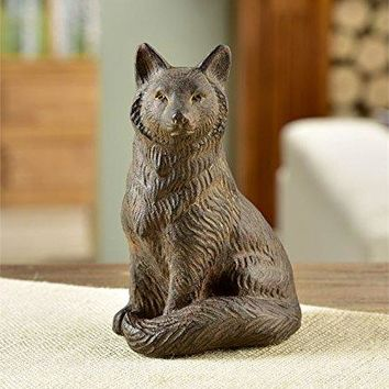 Rustic Brown Sitting Fox Design 6.5 Inch Resin Figurine or Garden Statuette