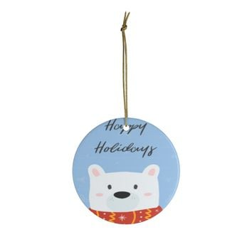 Ceramic Ornaments For Kids - Happy Holidays Bear Ornament Holiday Gift For Children