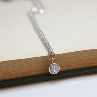 Drop of Sparkle - CZ Cubic Zirconia Platinum Plated Drop Necklace - Simple Everyday Jewelry