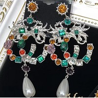 GUCCI fashion temperament exaggerated color crystal full diamond earrings F0478-1 Silver