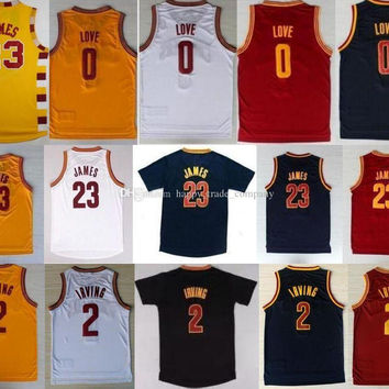 Mens 2 Kyrie Irving Jersey New Material 0 Kevin Love Shirt #23 LeBron James Uniform Trowback Red White Basketball Jersey Yellow Black Blue