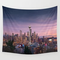 SEATTLE SUNSET Wall Tapestry by Radiate Light