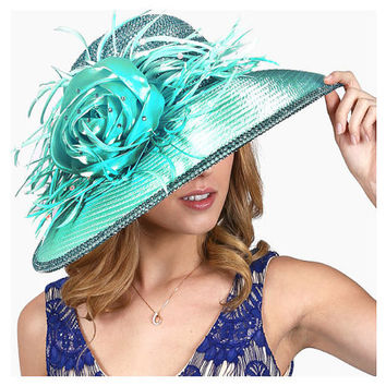 Kentucky Derby Church Wedding Party Dressy Blue Zircon Turquoise Crystal Trimmed Feather Satin Flower Hat