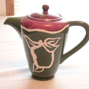 Tea Pot Brown top with green and an outline in white apple tea pot  brown green hot beverage TreasuresRtimeless