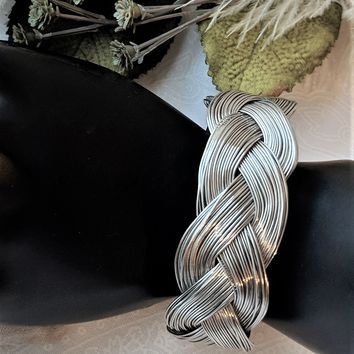 Unique Artisan Crafted Wide Woven Braided Sterling Silver Garnet Bangle Bracelet