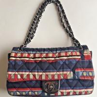 "CHANEL ltd edition ""Le Train"" 255 shoulder flap canvas fabric Bag navy red"