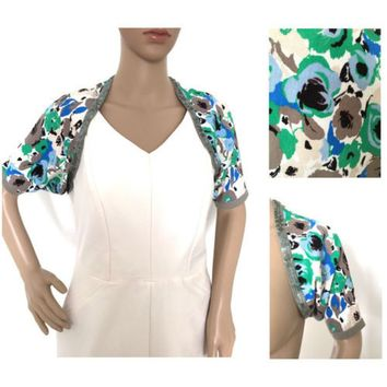 Coast Floral Sequin Cover Up Shrug Blue Green Cream Taupe Size 10 - 12