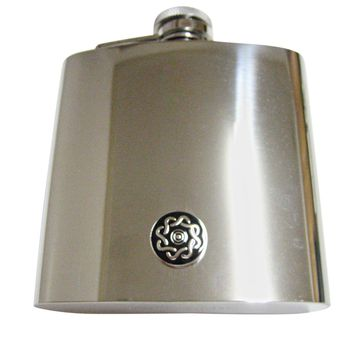 Shiny Round Celtic Design 6 Oz. Stainless Steel Flask