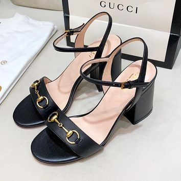 GUCCI Popular Women Leather High Heels Sandals Shoes Black