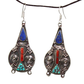 lapis coral Earring