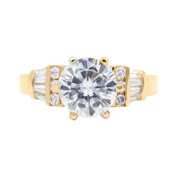 8.5mm Round Moissanite 14K Yellow Gold  4 Prong Center Diamond and Baguette Side Ring 2.55 Total Carat Weight