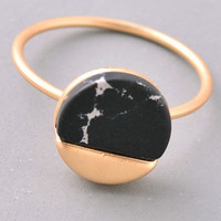 Gold & Stone Circle Ring - Black or White