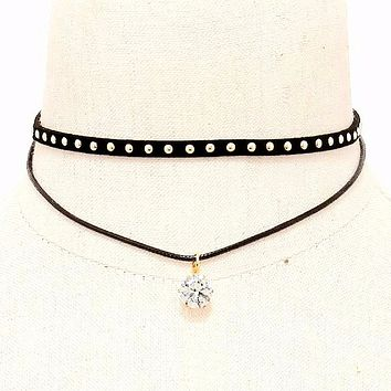 Black Studded and Crystal Double Layer Choker