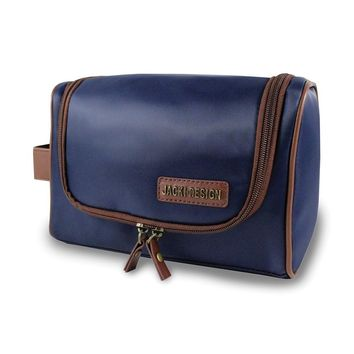 Mens Blue/brown Toiletry Bag W/hanger